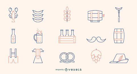 Conjunto de ícones de linha Oktoberfest