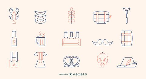 Conjunto de iconos de línea de Oktoberfest