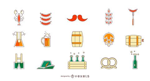 Conjunto de ícones coloridos de Oktoberfest