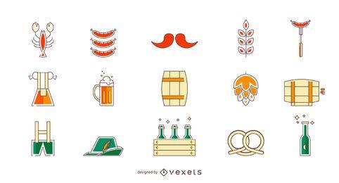 Conjunto de iconos de color Oktoberfest