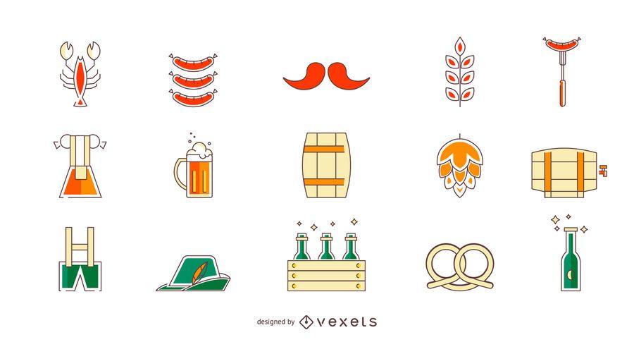 Colored Oktoberfest icon set