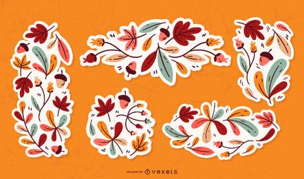 Conjunto de adornos de hojas de otoño