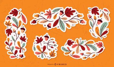 Conjunto de ornamento de folhas de outono