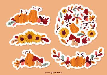 Paquete de pegatinas florales de otoño