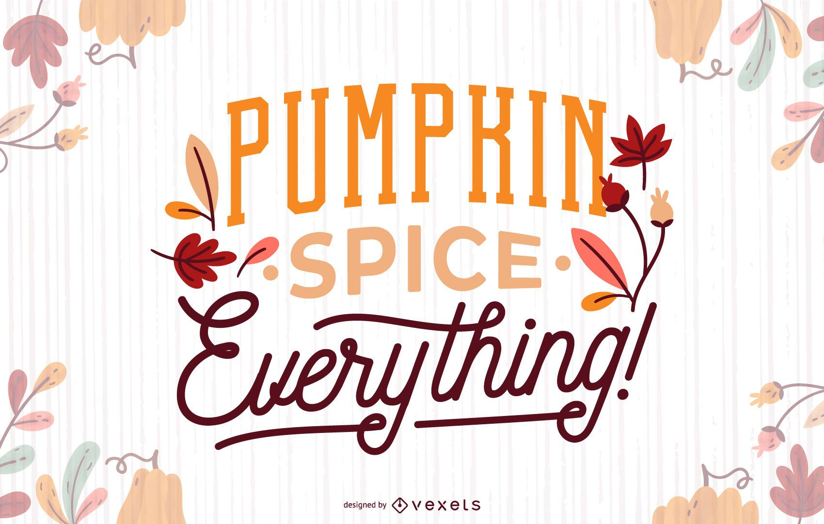 Banner de letras de otoño de especias de calabaza