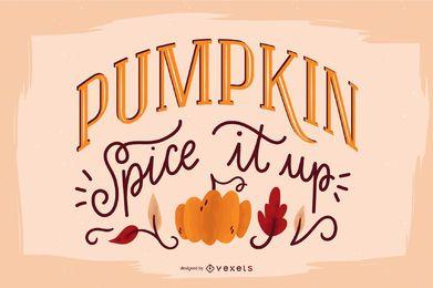 Banner de citação de abóbora com letras de outono