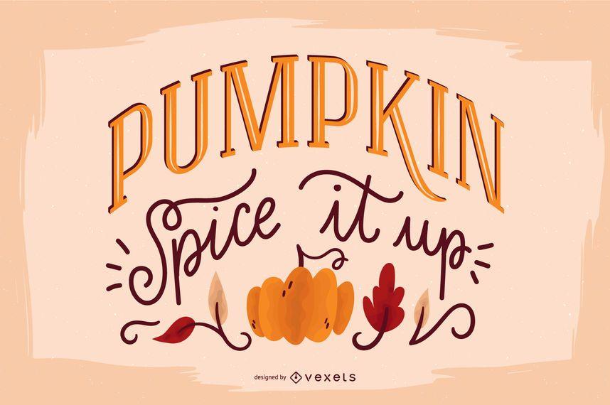 Banner de cita de calabaza de letras de otoño