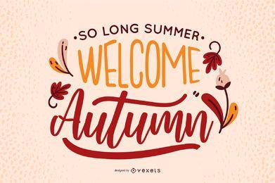 Design de banner de boas-vindas com letras de outono