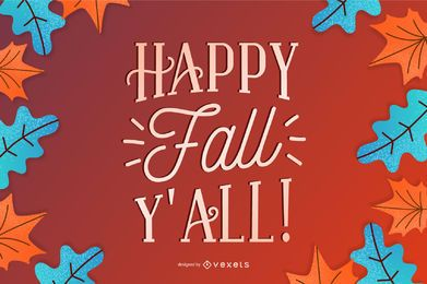 Banner de letras feliz outono