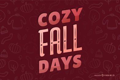 Banner de citação com letras aconchegantes de outono