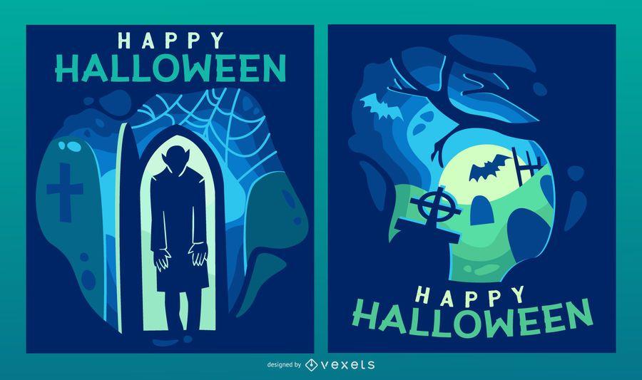 Conjunto de banner com recorte de papel assustador de Halloween