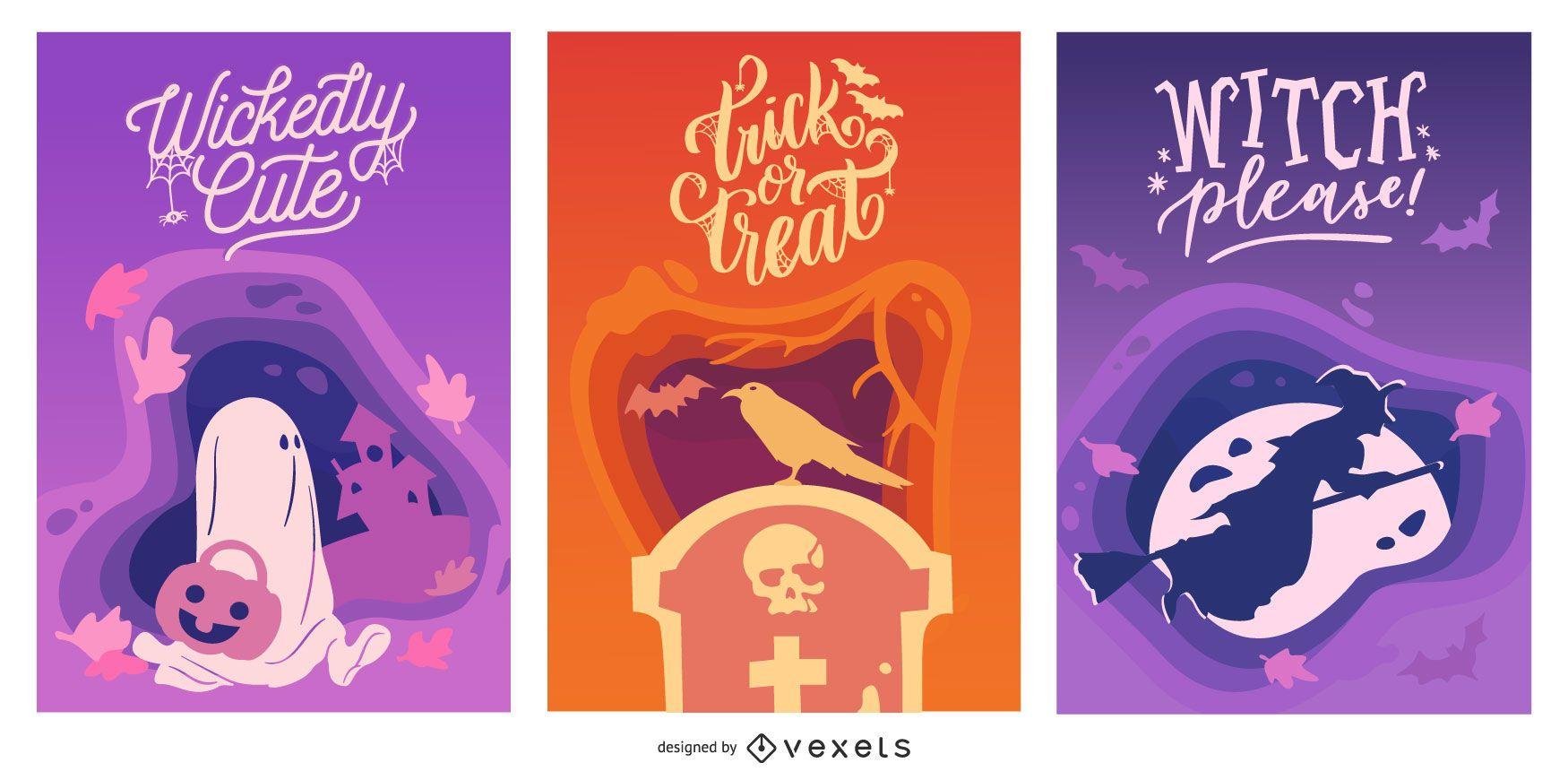 Conjunto de banner de Halloween com recorte de papel
