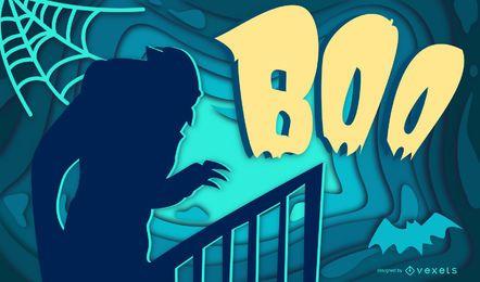 Ilustração de papercut de boo de halloween