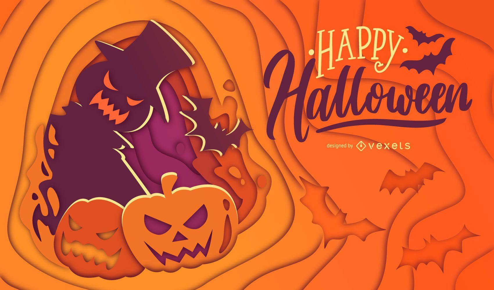 Ilustração de abóbora cortada em papel de Halloween