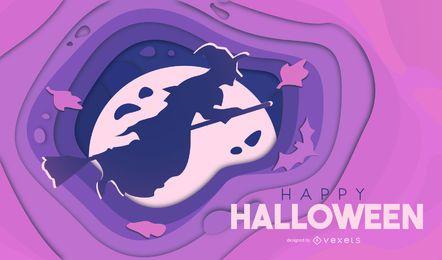 Ilustración de papercut de bruja de Halloween