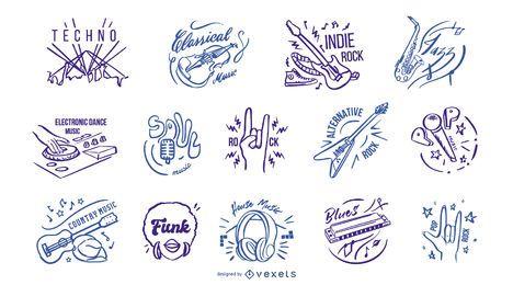 Insignias de géneros musicales dibujados a mano.