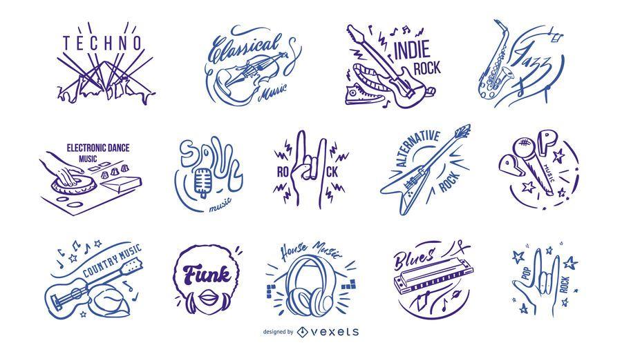 Insignias de géneros musicales dibujadas a mano