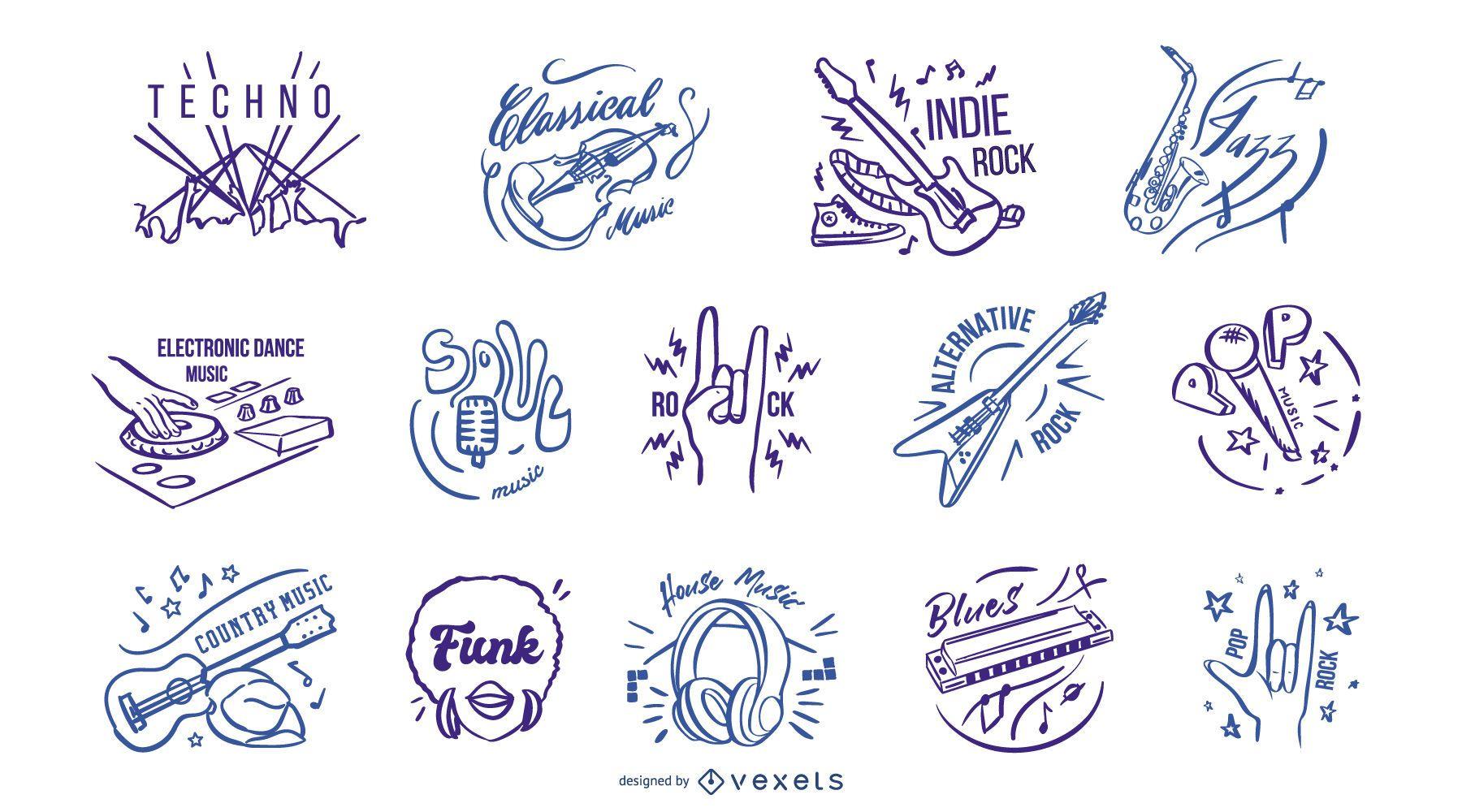 Hand drawn music genres badges