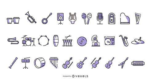 Coleção de ícones de instrumentos musicais
