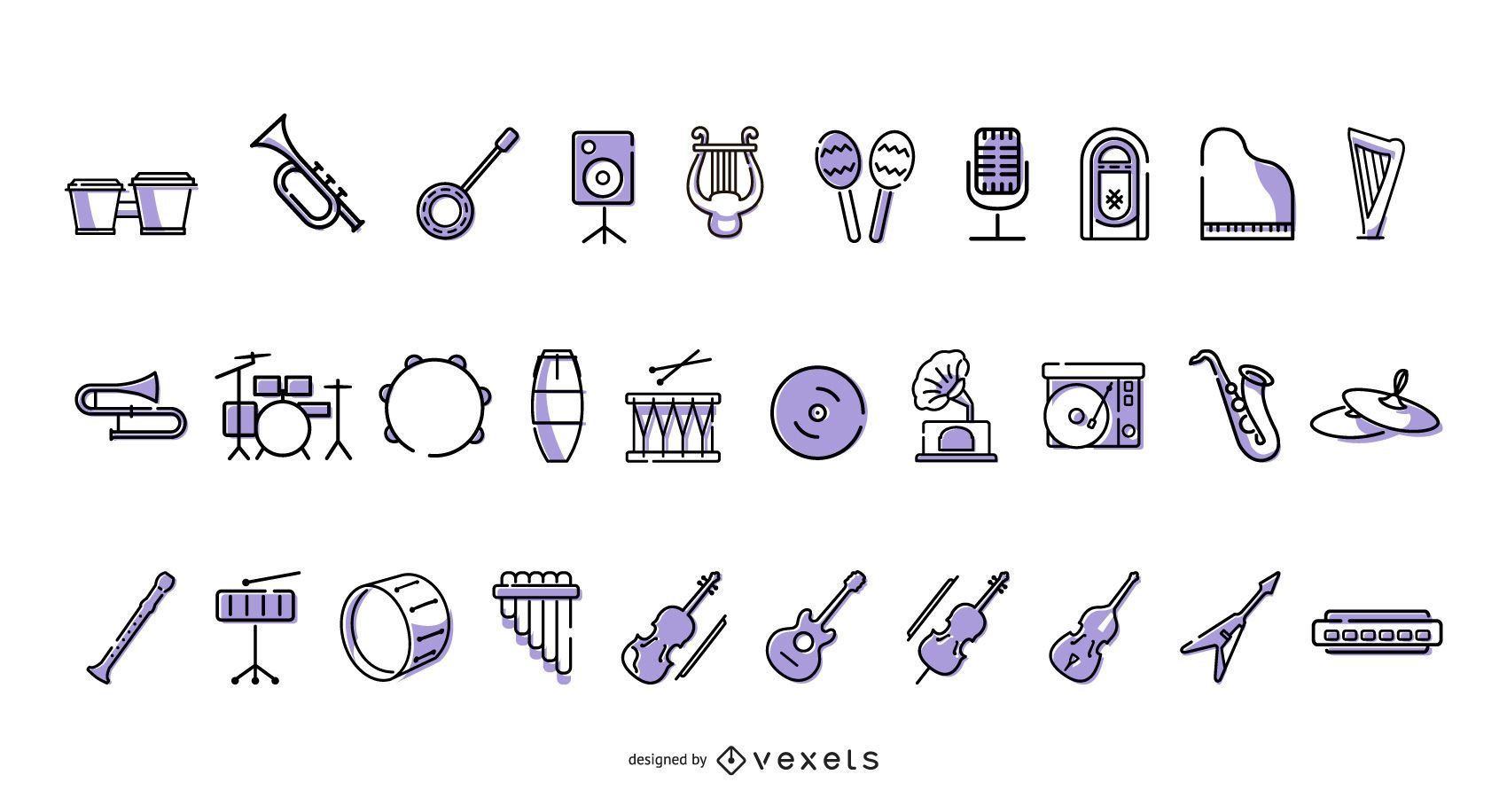 Musical instruments icon collection