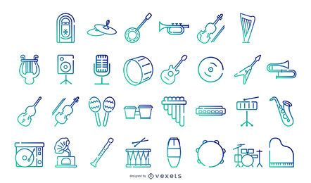 Musical instruments gradient icon collection