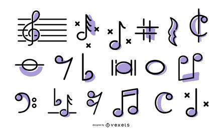 Conjunto de ícones de traço de música