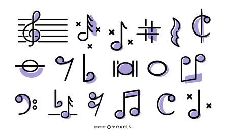 Music stroke icons set