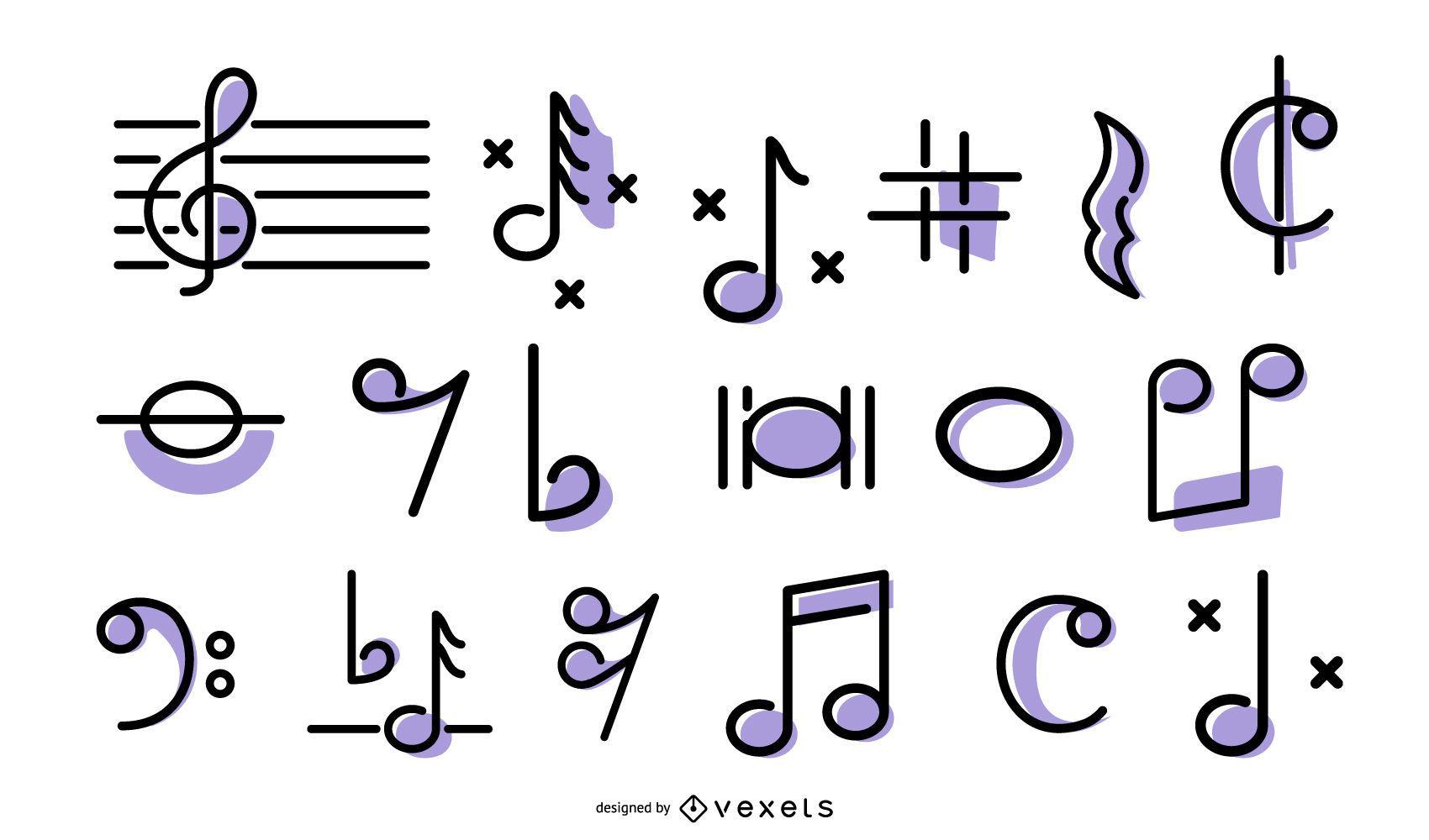 Conjunto de iconos de trazo de música