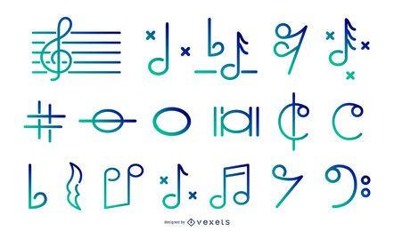 Ícones de gradiente de traço de música