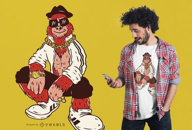 Diseño de camiseta hip hop bigfoot