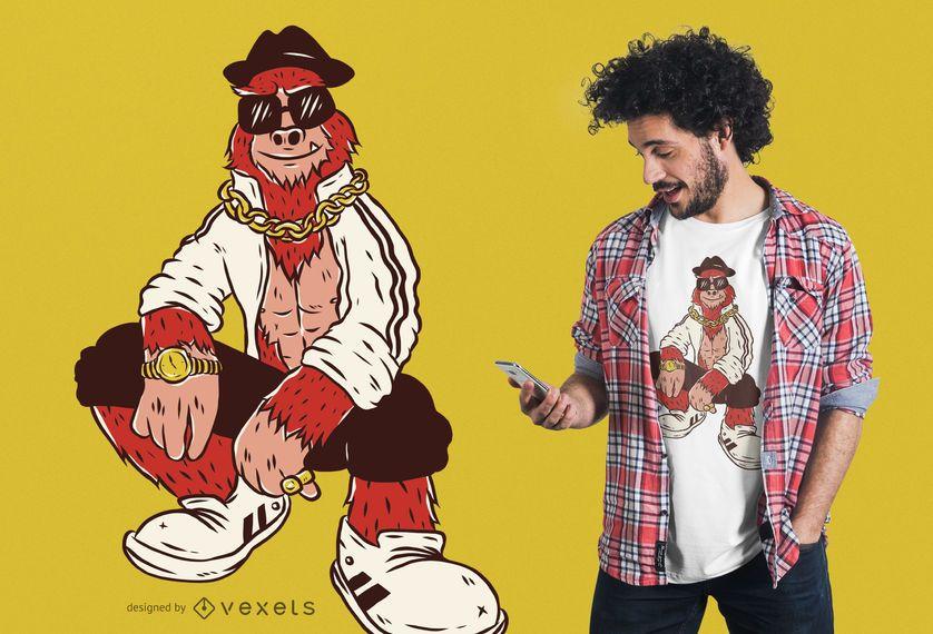 Projeto do t-shirt do bigfoot do hip-hop