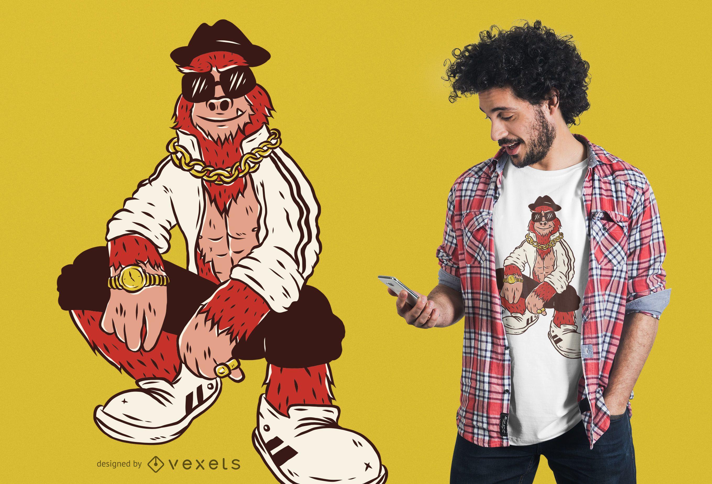 Hip hop bigfoot t-shirt design