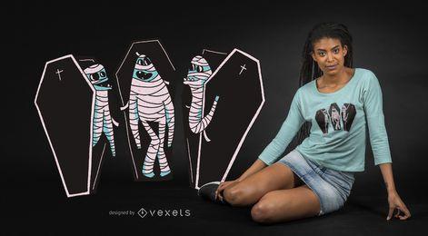 Diseño de camiseta de momias divertidas