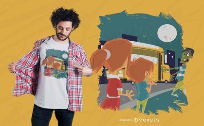 Diseño de camiseta de autobús escolar zombie.