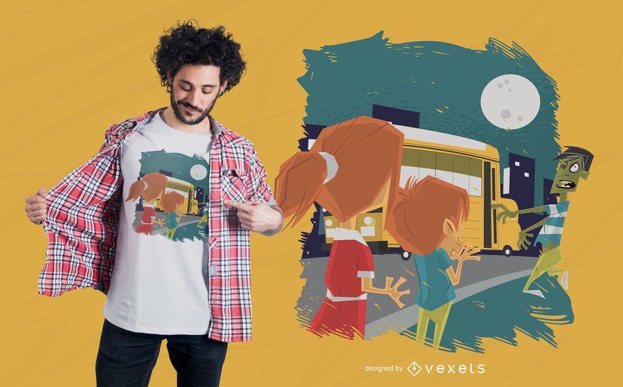 Diseño de camiseta de zombie de autobús escolar