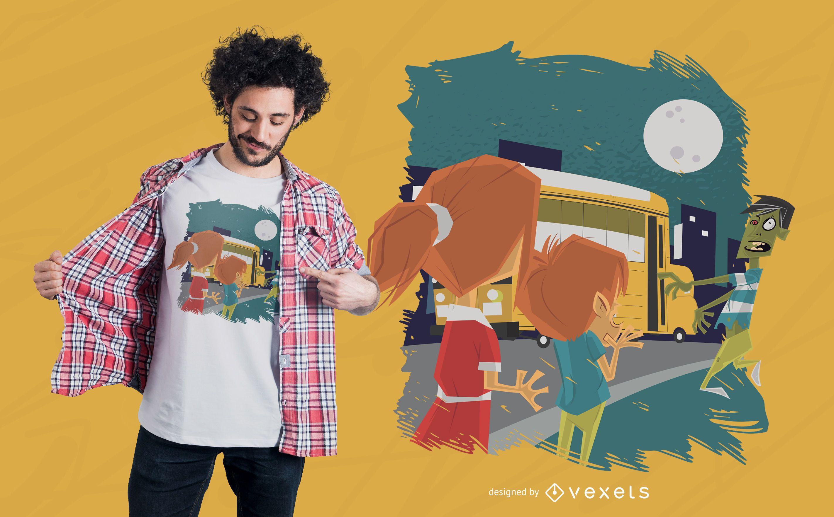School bus zombie t-shirt design