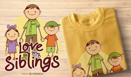Amo el diseño de camiseta de mis hermanos