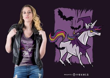 Diseño de camiseta de bruja unicornio