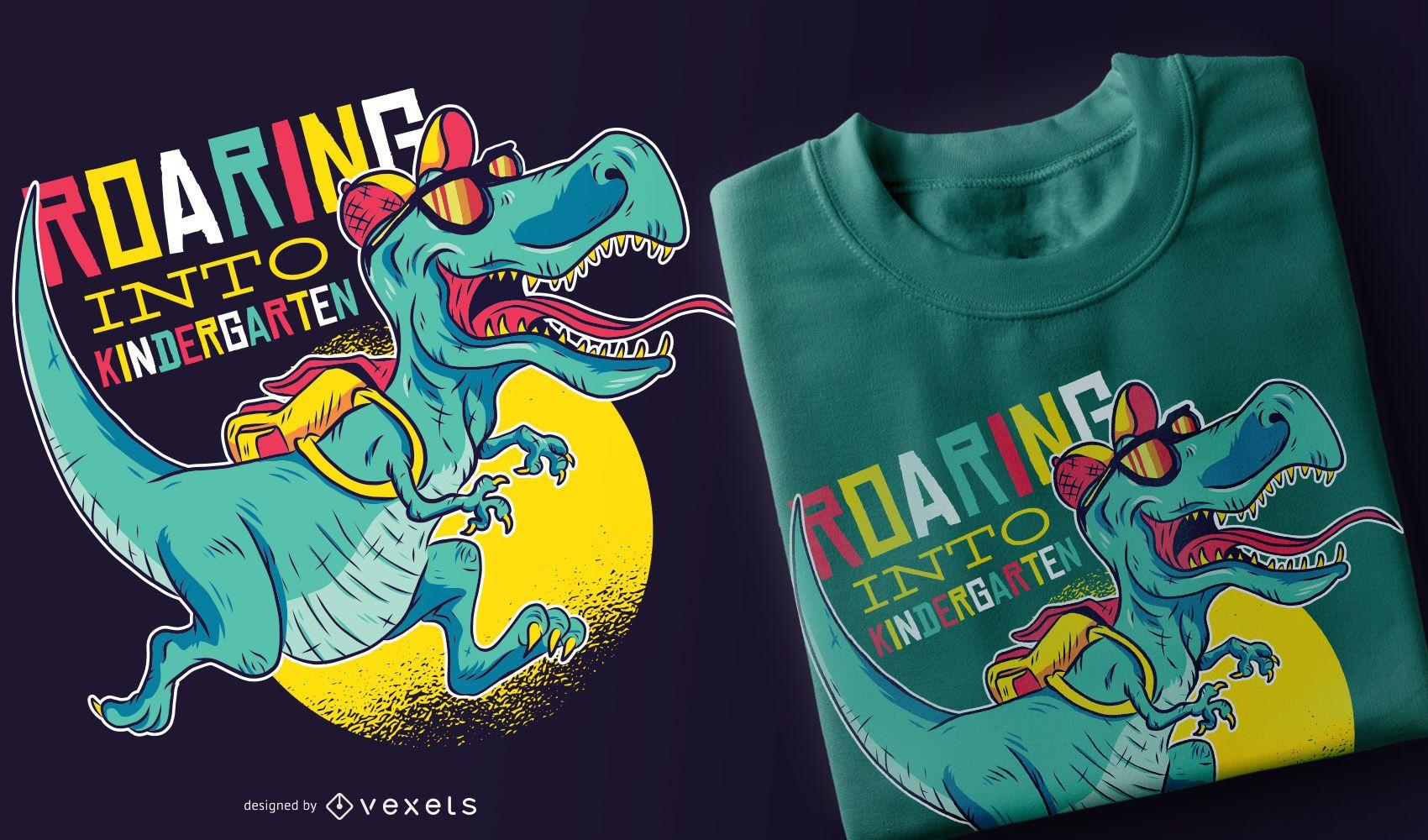 Roaring into kindergarten t-shirt design