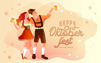 Feliz ilustración de la Oktoberfest