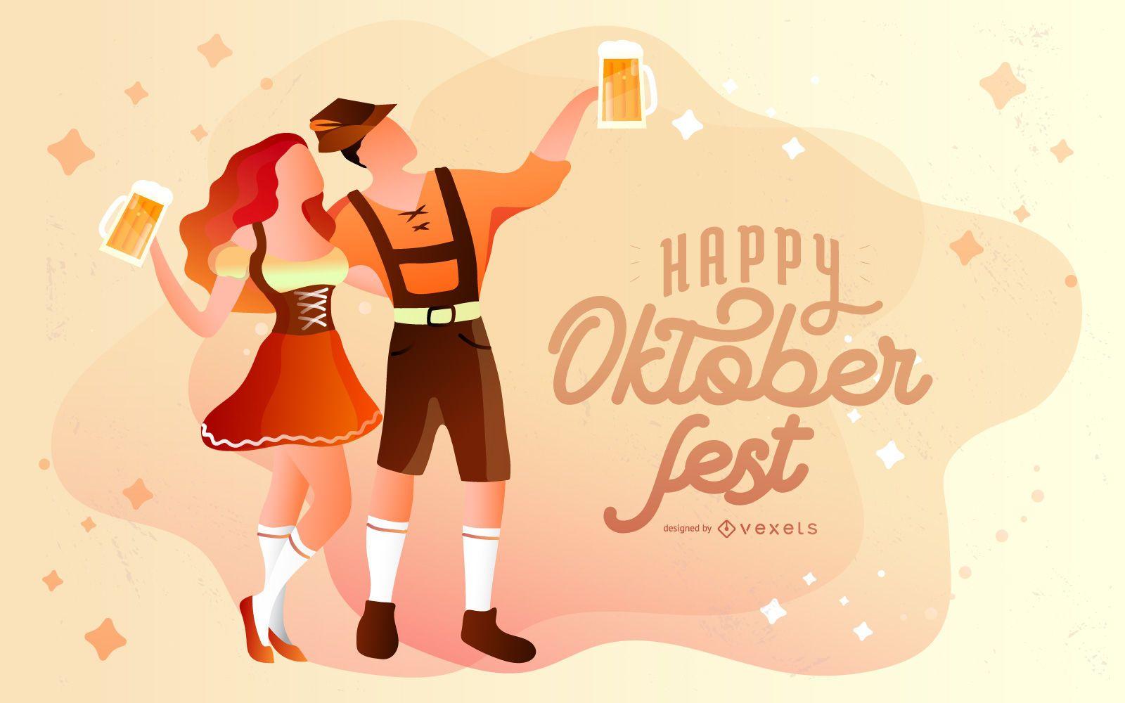 Happy oktoberfest illustration