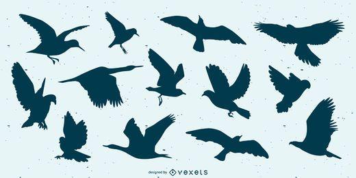 Conjunto de silueta de pájaro volador