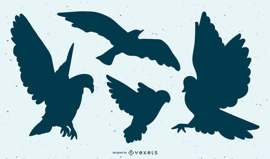 Fliegender Vogel Silhouette Set