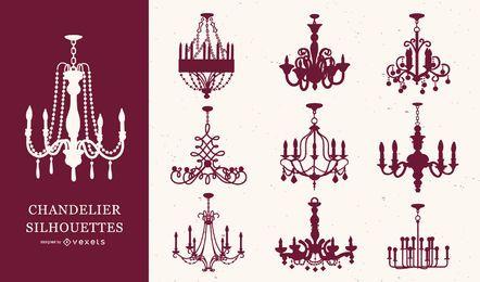 Conjunto de silhueta de candelabro