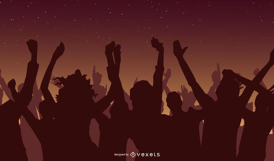 Dancing Crowd Silhouette Design
