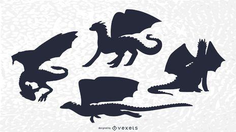 Conjunto de silhueta de dragão clássico
