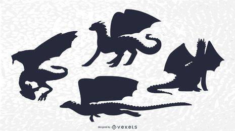 Klassisches Dragon Silhouette Set