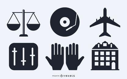 Conjunto de silueta de elementos diversos