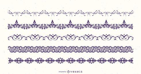 Pacote de silhueta floral fronteira