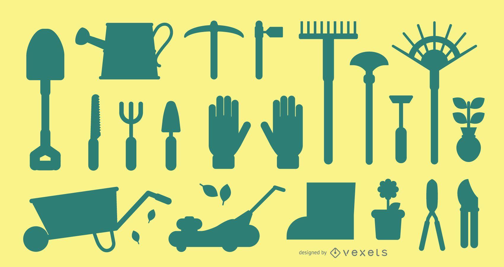 Paquete de silueta de herramientas de jardinería